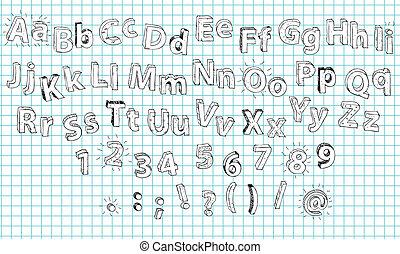Hand Drawn 3D Bold Alphabet ABC