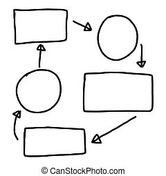 Hand drawn a graphics symbols geometric shapes graph to input information