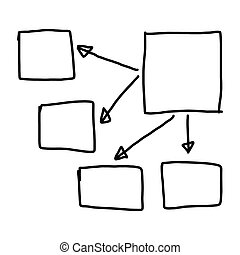 Hand drawn a graphics symbols geometric shapes graph to input information concept
