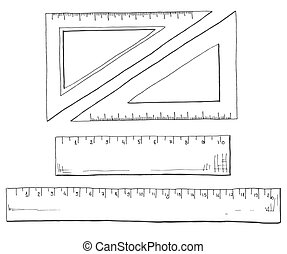 Hand drawn a set of rulers and triangles. Vector illustration of a sketch style