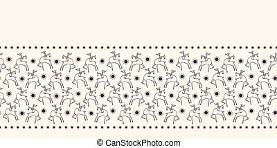 Hand drawn abstract Christmas reindeer border pattern. Leaping stag deer on ecry white background. Cute winter holiday banner ribbon. Festive gift wrap washi tape illustration. Scandi seamless vector