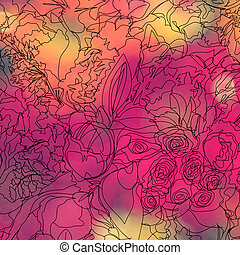 hand drawn abstract flowers on blurred flower background