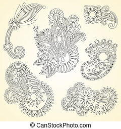 abstract henna mendie black flowers doodle Illustration