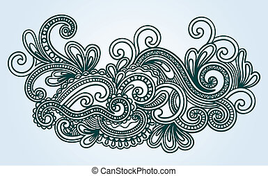Henna Mendie Wives Doodle Vector Illustration