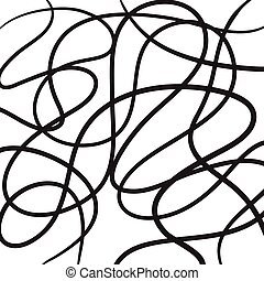 Hand drawn abstract lines vector icon illustration black on white