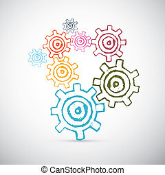 Hand Drawn Abstract Vector Cogs - Gears