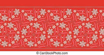 Hand drawn abstract winter snowflake border pattern. Stylish crystal stars. Red ecru monochrome background. Elegant holiday ribbon trim. Festive gift wrap washi tape yule illustration. Seamless vector