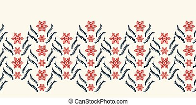 Hand drawn abstract winter snowflake border pattern. Stylish crystal stars. Red ecru monochrome background. Elegant holiday ribbon trim. Festive gift wrap washi tape yule illustration. Seamless vector