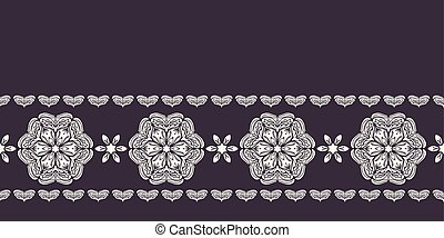 Hand drawn abstract winter snowflakes border pattern. Stylish crystal stars on black background. Elegant simple holiday banner ribbon. Festive gift wrap washi tape yule illustration. Seamless vector