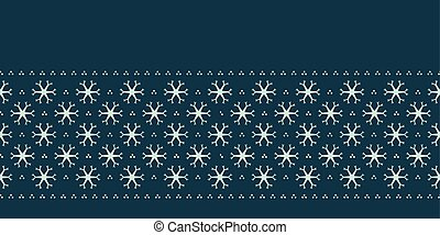 Hand drawn abstract winter snowflakes border pattern. Stylish crystal stars on green background. Elegant simple holiday banner ribbon. Festive gift wrap washi tape yule illustration. Seamless vector