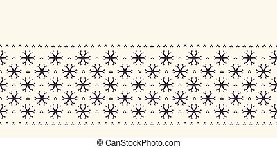 Hand drawn abstract winter snowflakes border pattern. Stylish crystal stars on white background. Elegant simple holiday banner ribbon. Festive gift wrap washi tape yule illustration. Seamless vector