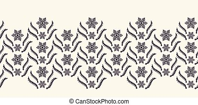 Hand drawn abstract winter snowflakes border pattern. Stylish crystal stars on white background. Elegant simple holiday banner ribbon. Festive gift wrap washi tape yule illustration.