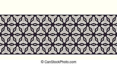 Hand drawn abstract winter snowflakes border pattern. Stylish crystal stars textured background. Elegant geo grid holiday banner ribbon. Festive gift wrap washi tape yule illustration. Seamless vector