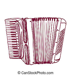 hand drawn accordion on white