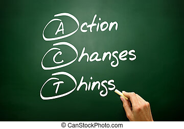 Hand drawn Action Changes Things (ACT), business concept acronym