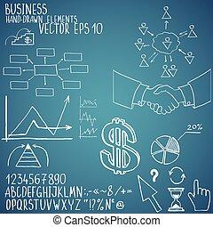 hand-drawn, affari, elements.