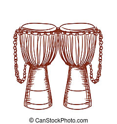 hand drawn african wooden djembe drum