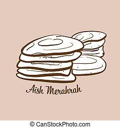 Hand-drawn Aish Merahrah bread illustration. Flatbread, ...