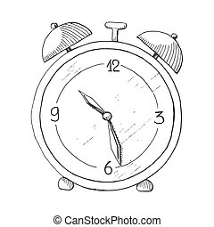Hand drawn alarm clock isolated on white background. Vector illustration of a sketch style.