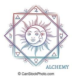 Hand drawn alchemy symbol
