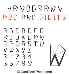 Hand Drawn Alphabet And Digits. Pentagonal Geometric Font. ABC. Vector