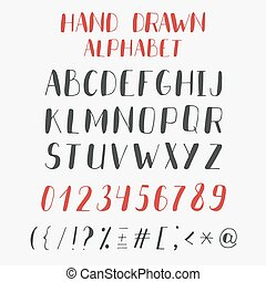 Hand drawn alphabet and numbers. Vector ABC letters
