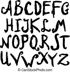 Hand Drawn Alphabet Black