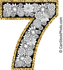 Hand drawn alphabet design. Digit 7. Gold glittering...