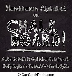 Hand drawn alphabet design on chalk