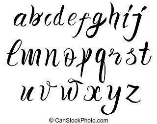 Hand drawn alphabet written with brush pen.