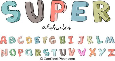 Hand-drawn alphabet, font, letters. Doodle ABC for kids. Vector illustration isolated on white background.
