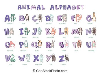 Hand-drawn alphabet, font, letters. Doodle ABC for kids with cute animal characters. Vector illustration, isolated on white.