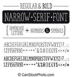 Hand drawn alphabet - Hand drawn narrow alphabet. Uppercase...