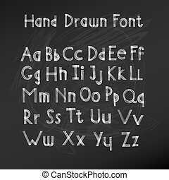 Hand drawn alphabet. Handwritten font. Vector Illustration