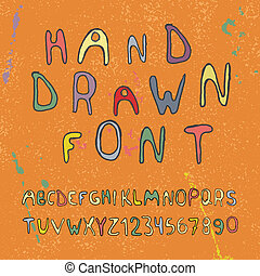 Hand drawn alphabet letters and numbers. Vector