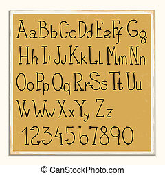 Hand -drawn alphabet letters and numbers