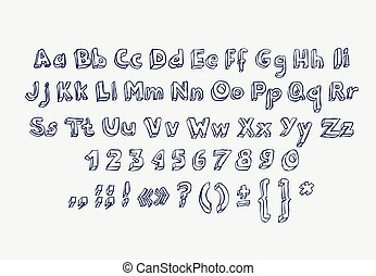 Hand drawn alphabet letters doodle scribble childrens abc, vector font. Type, numbers, characters and punctuation marks