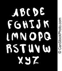 Hand drawn alphabet. Letters set.