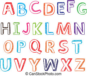 hand drawn alphabet letters.