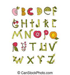 Hand drawn alphabet - Nature and Fruits Elements. Doodle font. Vector Illustration