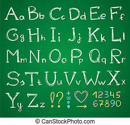 alphabet - hand drawn alphabet on a green chalkboard