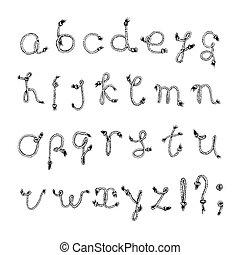 Hand drawn alphabet - Rope or String . Handwritten font. Vector Illustration