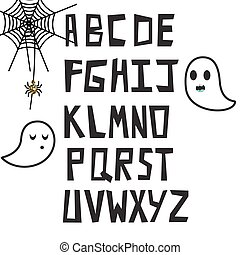 Hand drawn alphabet rough bluff letters with spooky clip art...