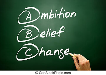 Hand drawn Ambition Belief Change (ABC), business concept on bla