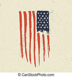 Hand Drawn American Flag. Grunge vintage styled vector illustration.