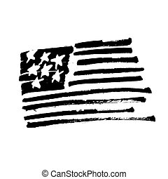 """Hand drawn American flag """"Stars and stripes"""" monochrome Illustration. Painted by Brush. Black symbol isolated on white."""