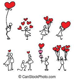 hand-drawn, amor, caricatura