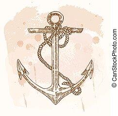 Hand drawn anchor on vintage background. Vector sketch illustration.