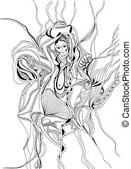 Hand drawn and doodle style girl dancing belly dance