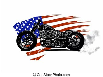 Hand drawn and inked vintage American chopper motorcycle...